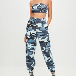 3ef7e9d36f6d71 Missguided Other | Carli Bybel Blue Camo Cargo Pants Crop Top | Poshmark